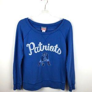 Junk Food Patriots Football Blue Sweatshirt Small